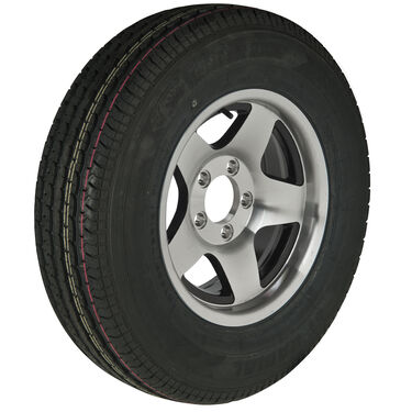 Trailer King II ST175/80 R 13 Radial Trailer Tire, 5-Lug Aluminum Black Star Rim
