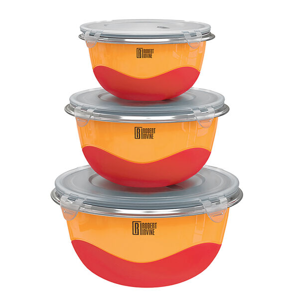 Robert Irvine 6-Piece Microwave-Safe Mixing Bowl and Lid Set, Orange