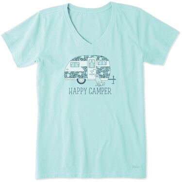 Life Is Good Women's Ditsy Happy Camper Crusher V-Neck