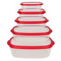 Home Basics 5-Piece Plastic Food Storage Container Set