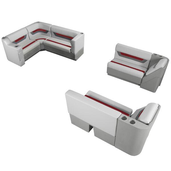Designer Pontoon Furniture - Complete Boat Package, Sky Gray/Dark Red
