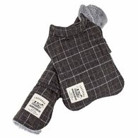 Touchdog ® 2-In-1 Windowpane Plaided Dog Jacket With Matching Reversible Dog Mat, Dark Grey Plaid X-Small