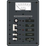 Blue Sea Systems AC Panel, ELCI Main 30A Double Pole + 2 Positions w/Voltmeter