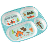 "Kid's ""Eat, Sleep, Camp"" Food Tray, Aqua"