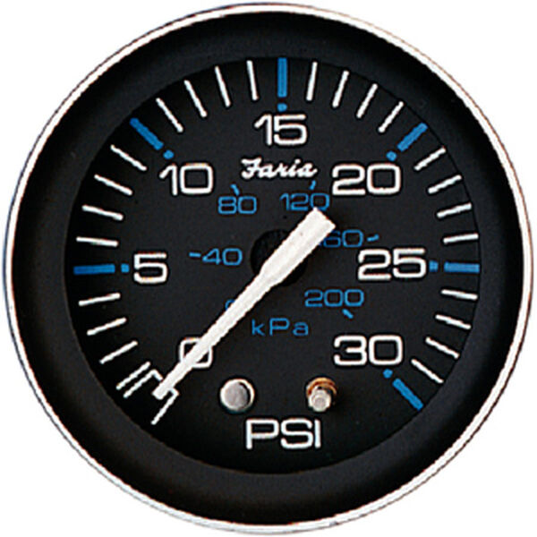 "Faria 2"" Coral Series Water Pressure Gauge Kit, 30 PSI"