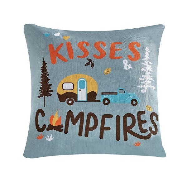 """Kisses & Campfires"" Throw Pillow, 16"" x 16"""