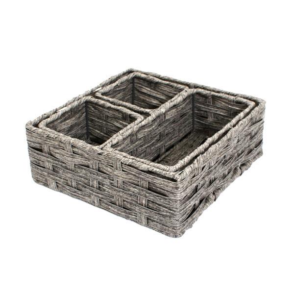 Home Collections 4-Piece Faux Rattan Storage Basket Set, Gray