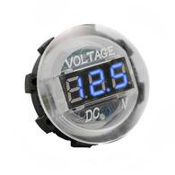 White Digital Volt Meter Round Gauge with Blue LED Lighting - 12 volt operation range