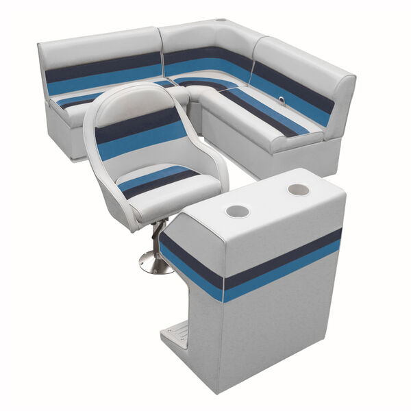 Deluxe Pontoon Furniture with Toe Kick Base - Group 2 Package, Gray/Navy/Blue
