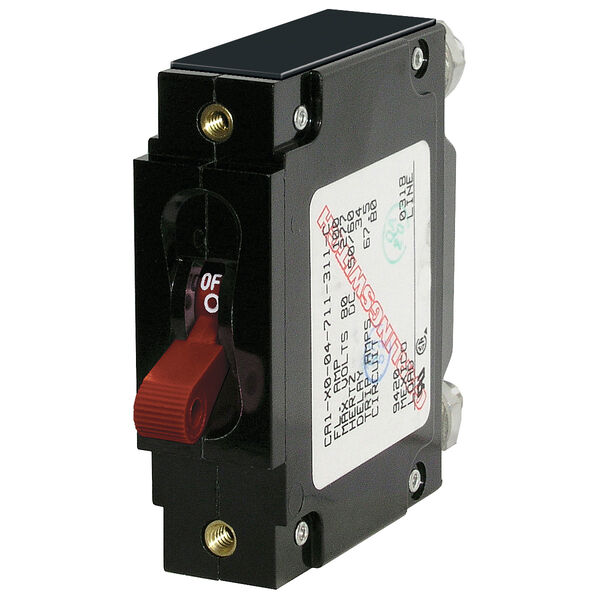 Blue Sea Circuit Breaker C-Series Toggle Switch, Single Pole, 100A, Red