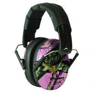 Walker's Pro Low Profile Folding Earmuff, Pink/Mossy Oak