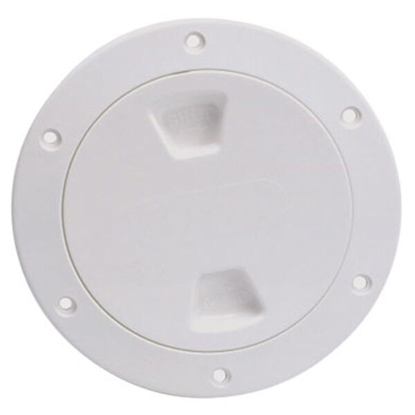 """Screw-Out 8"""" White Deck Plate With Smooth Center"""