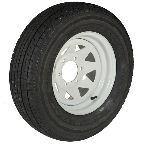 Goodyear Endurance ST225/75 R 15 Radial Trailer Tire, 6-Lug White Spoke Rim