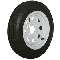 Tredit H188 4.80 x 12 Bias Trailer Tire, 4-Lug Spoke White Rim