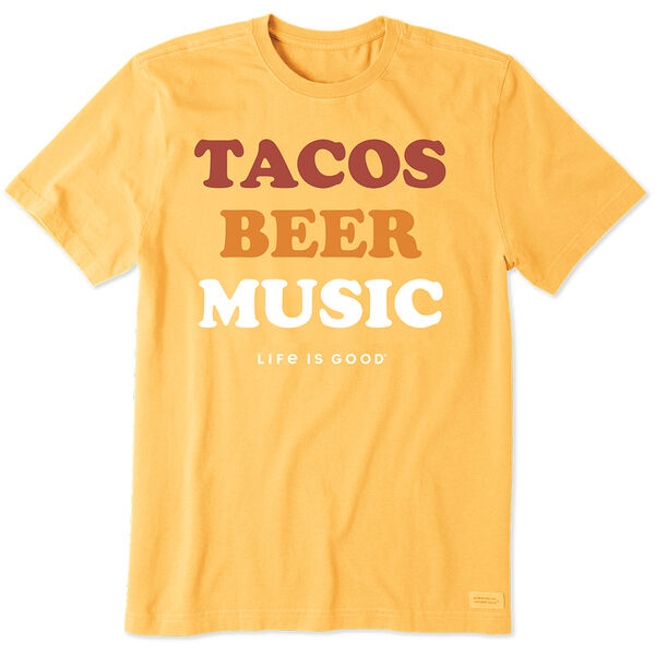 Life Is Good Men's Tacos, Beer, Music Crusher Short Sleeve Tee