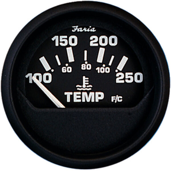 "Faria 2"" Euro Black Series Water Temperature Gauge, 100-250°F"
