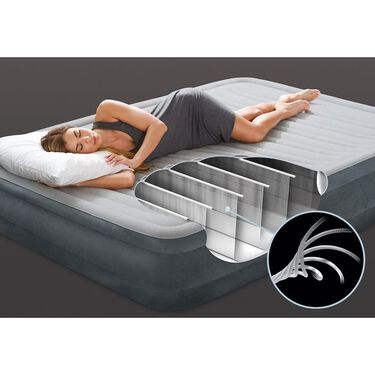 """Intex Dura-Beam Comfort-Plush 13"""" Queen Mid-Rise Airbed & Built-In Pump"""