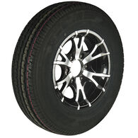 Trailer King II ST225/75 R 15 Radial Trailer Tire, 6-Lug Aluminum T07 Black Rim