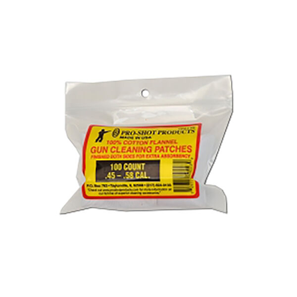 Pro-Shot 50 ct. Cleaning Patches, .45/58 Cal.