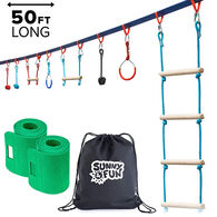 Sunny & Fun Mega Slack Line Hanging Obstacle Course with Cargo Climbing Net