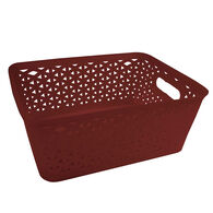 Home Collections Medium Storage Bin with Cutout Handles, Brick Red