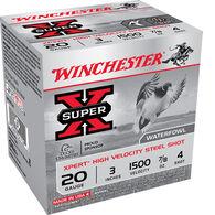 "Winchester Super-X High-Velocity Steel Shot Shells, 20-Ga., 3"", #4 Shot, 100 Rounds"
