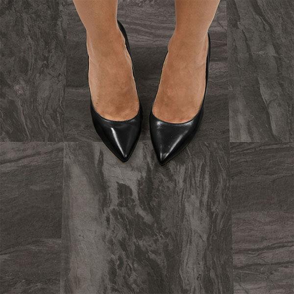 FloorPops Raven Peel-and-Stick Floor Tiles