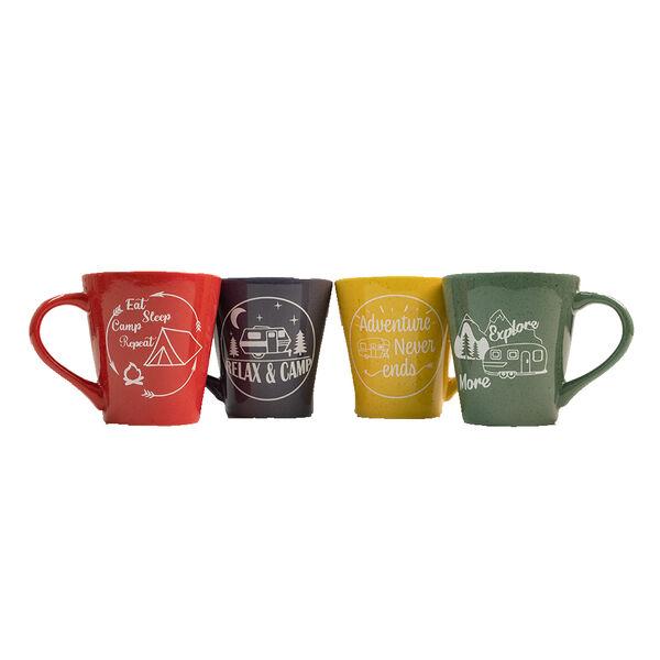 4-Piece Ceramic Stoneware Camping Mug Set