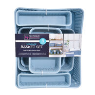 Lincoln Home Collection 8-Piece Storage Basket Set, Light Blue