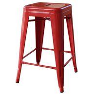 """AmeriHome Loft Metal Bar Stool, 24"""", Red"""