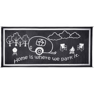 "Reversible ""Home Is Where We Park It"" RV Patio Mat, 8' x 18', Black/White"