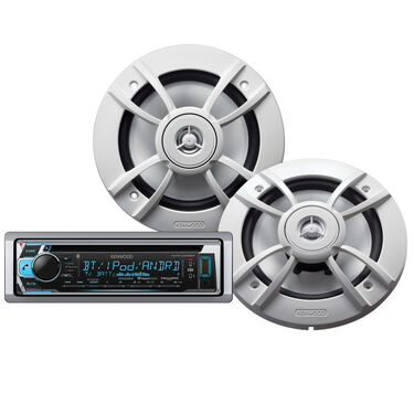 "Kenwood KMR-D368BT Marine Bluetooth CD Receiver Package w/Two 6.5"" Speakers"