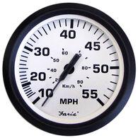 "Faria 4"" Euro White Series Speedometer, 55 MPH"