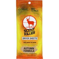 Wildlife Research Center Scent Killer Autumn Formula Dryer Sheets, 12-Pack