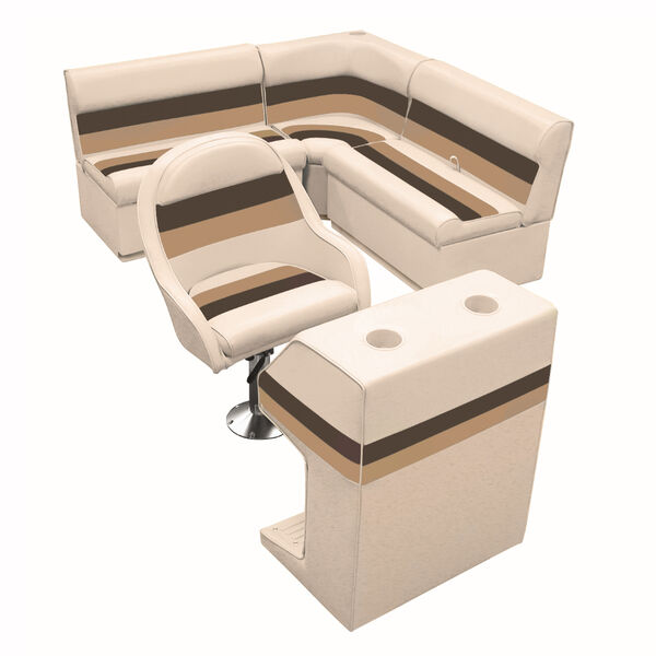 Deluxe Pontoon Furniture with Toe Kick Base - Group 2 Package, Sand/Chestnut/Gol