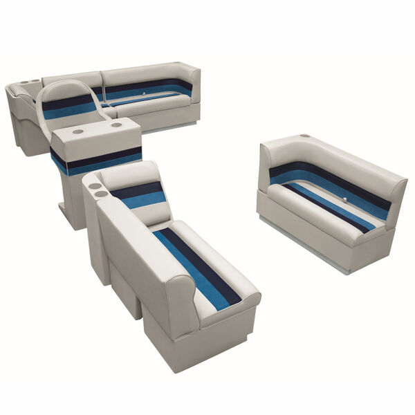 Deluxe Pontoon Seats w/Toe Kick Base, Complete Package A Plus Stand, Gray/Nvy/Bl