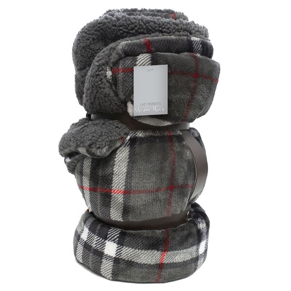 Lazy Mondays Velvet Sherpa Throw - Plaid