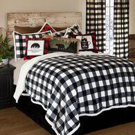 Lumberjack Black & White Plaid 4-piece Sherpa Queen Bedding Set