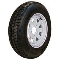 "Kenda Loadstar 12"" 480-12 K353 Bias Trailer Tire With White Wheel Assembly"