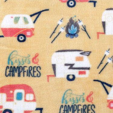 """Kisses & Campfires"" Throw, 55"" x 70"", Yellow"
