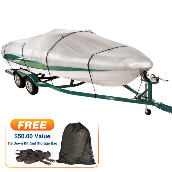 "Covermate Imperial 300 V-Hull Outboard Wide Boat Cover, 18'5"" max. length"