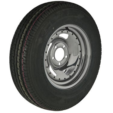 Trailer King II ST175/80 R 13 Radial Trailer Tire, 5-Lug Chrome Directional Rim