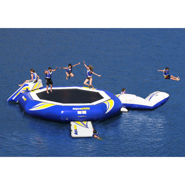 Aquaglide SuperTramp 17' Trampoline, Blast Air Bag, And Plunge Slide Set