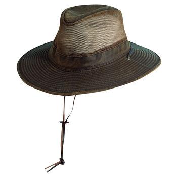 Dorfman Pacific Men's Safari Weathered Cotton Side Mesh Big Brim Hat