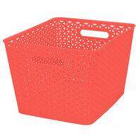 "Plastic Weave Rectangular Bin, 13.75""L x 11""W x 9""H, Coral"
