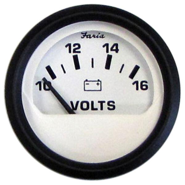 "Faria 2"" Euro White Series Voltmeter, 10-16V DC"
