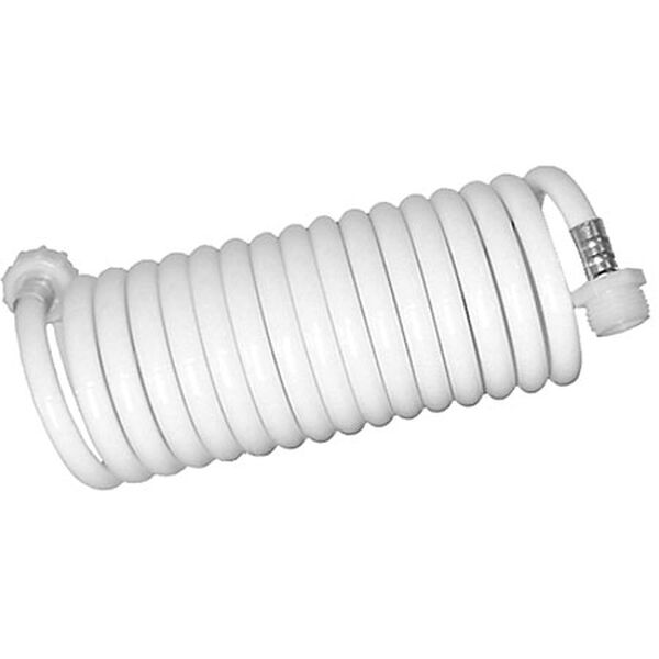 White Coiled Wash Down Hose, 15'