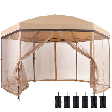 Hexagon Pop Up Gazebo Canopy 12' x 10' Tent with Mesh Sidewalls, Tan