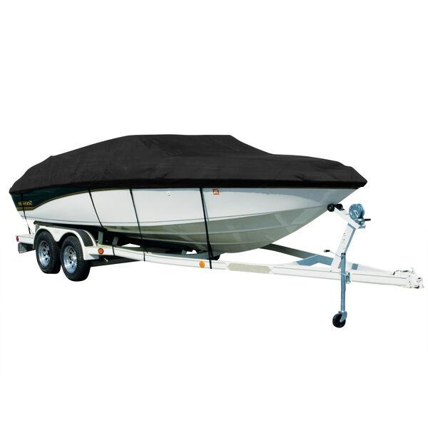 Covermate Sharkskin Plus Exact-Fit Cover for Tracker Fish N Barge 21 Signature Fish N Barge 21 Signature W/Bimini Laid Aft O/B