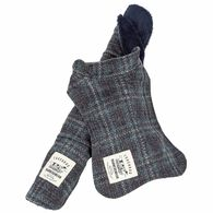 Touchdog ® 2-In-1 Windowpane Plaided Dog Jacket With Matching Reversible Dog Mat, Gray and Light Blue Plaid X-Small